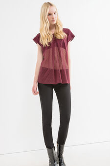 Semi-sheer blouse with cap sleeves, Red, hi-res