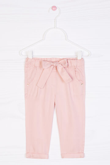 Solid colour trousers with bow, Dark Pink, hi-res