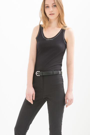 Top in 100% cotton with contrasting stitching, Black, hi-res