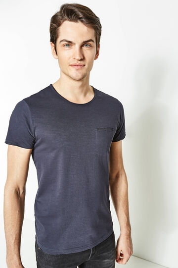 T-shirt taglio al vivo e taschino, Blu scuro, hi-res