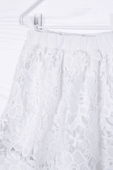 Solid colour embroidered skirt, White, hi-res