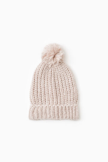 Knit beanie cap with pompom, Chalk White, hi-res