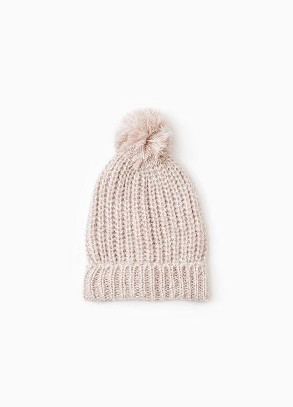 Knit beanie cap with pompom | OVS