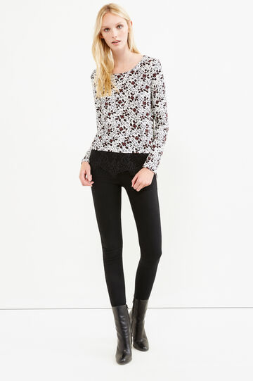 Stretch viscose floral T-shirt with lace, Black/Red, hi-res