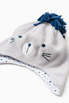 Hat and mittens set with pompom, Grey, hi-res