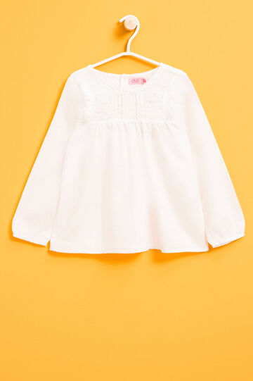 100% cotton shirt with lace, Milky White, hi-res