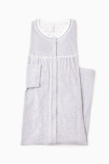 Cotton nightshirt with lace, Grey Marl, hi-res