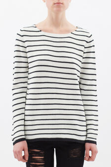 Striped patterned pullover, White/Blue, hi-res