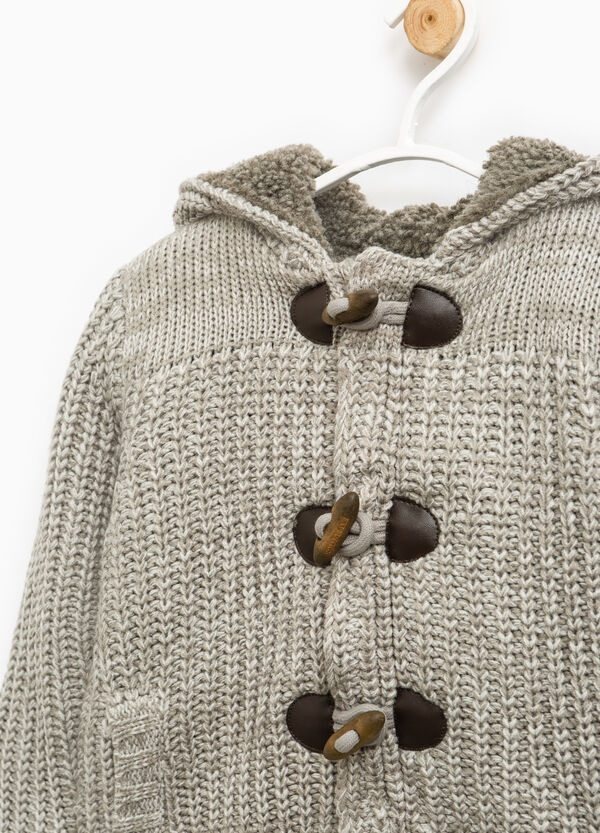 Cardigan tinta unita tricot con alamari | OVS