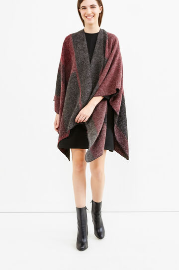 Poncho tricot stampato, Grigio melange, hi-res