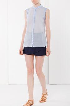 Linen blend sleeveless blouse, Light Blue, hi-res