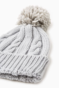 Beanie cap with turn-up, Grey, hi-res