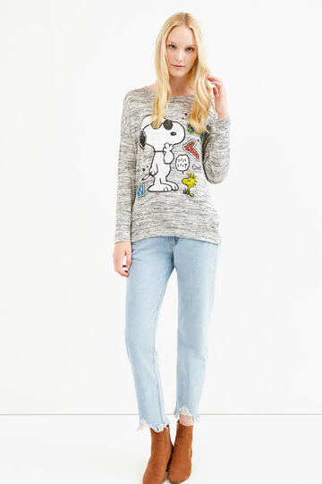Snoopy print stretch viscose T-shirt, Grey Marl, hi-res