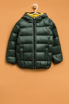 Real down jacket with hood, Green, hi-res