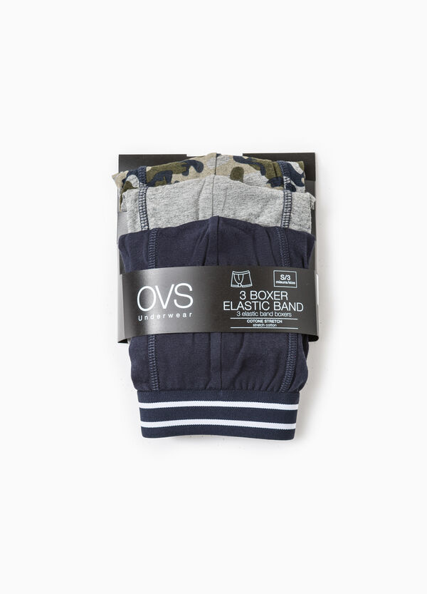 Three-pack solid colour and camouflage stretch boxer shorts | OVS