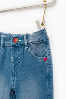 Faded stretch jeans with embroidery, Denim, hi-res