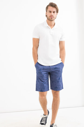Bermuda shorts in 100% cotton with G&H pattern, Blue, hi-res
