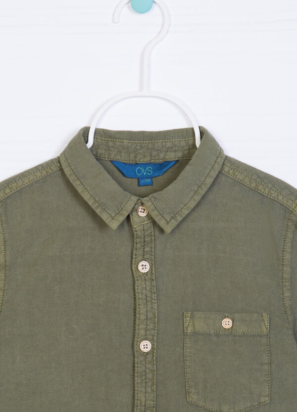 Solid colour linen and cotton shirt | OVS