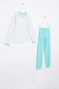 Patterned pyjamas in 100% cotton, White/Green, hi-res