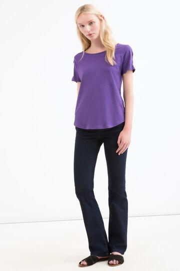 Solid colour T-shirt in 100% cotton, Purple, hi-res