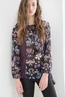 Floral patterned blouse, Black, hi-res