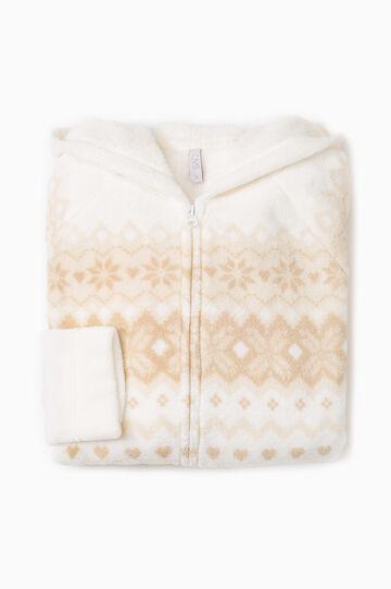 Fleece pyjama sweatshirt with zip, Cream White, hi-res