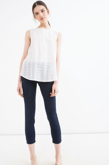 Sleeveless broderie anglaise blouse, White, hi-res