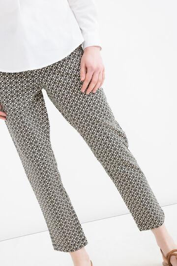Printed stretch cotton trousers, Multicolour, hi-res