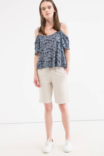 Stretch cotton bermuda with pockets