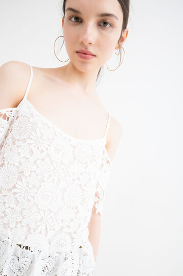 Solid colour embroidered top, Milky White, hi-res