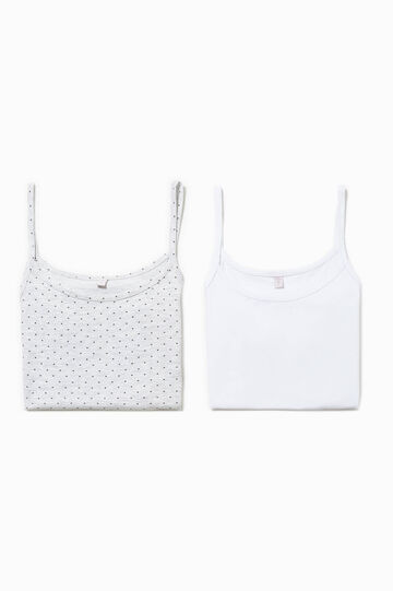 Two-pair pack solid colour and patterned under tops, White/Grey, hi-res