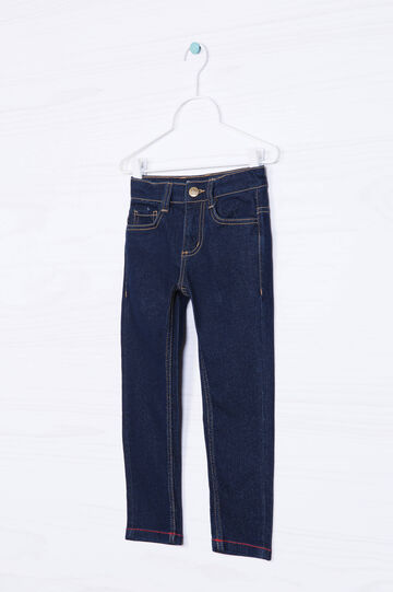 Solid colour stretch slim-fit jeans