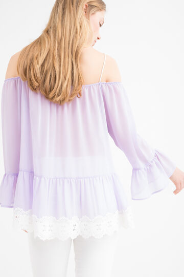 Peplum T-shirt with lace, Lilac, hi-res