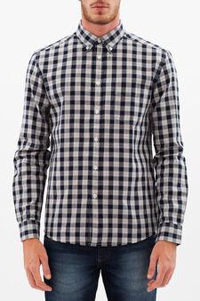 Camicia quadri regular fit, Blu/Grigio, hi-res