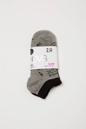 Two-pair pack socks with cat pattern