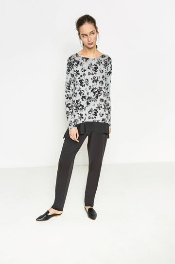 Floral stretch viscose T-shirt