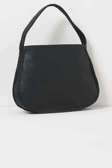 Hammered-effect shoulder bag, Black, hi-res