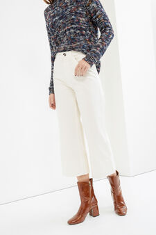 High-waisted stretch cropped trousers, White, hi-res