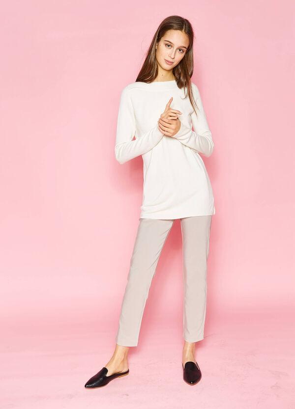 Jersey en color liso con escote barco | OVS
