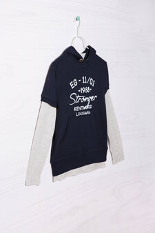 100% cotton T-shirt and sweatshirt outfit., Blue/Grey, hi-res