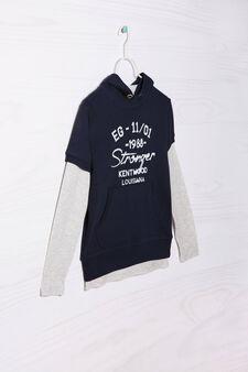 Completo felpa e t-shirt puro cotone, Blu/Grigio, hi-res