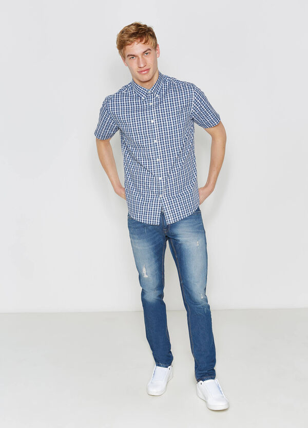 Check cotton blend casual shirt | OVS