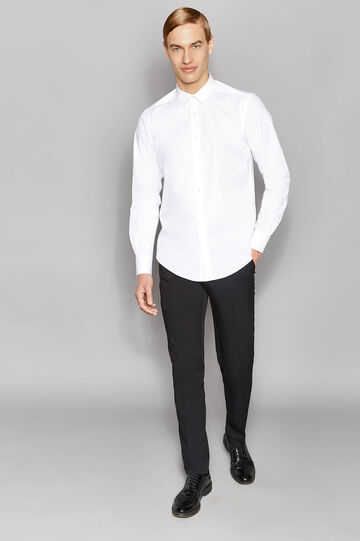 Slim-fit formal shirt in stretch cotton, White, hi-res
