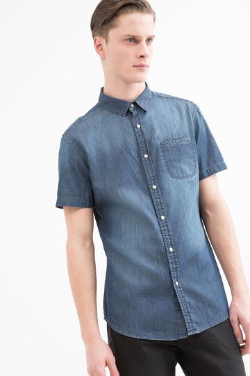 Worn-effect denim shirt, Dark Wash, hi-res