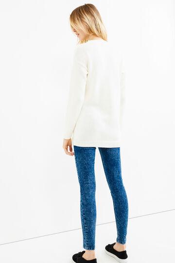 Pullover tricot con ricamo pinguino, Bianco, hi-res