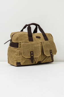 Cotton handbag with cross body strap., Beige, hi-res