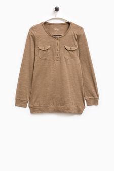 Smart Basic T-shirt with pockets, Khaki, hi-res