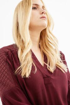 Curvy V-neck blouse in viscose blend, Aubergine, hi-res