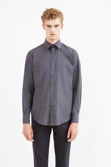 Camicia formale regular fit tinta unita, Grigio scuro, hi-res