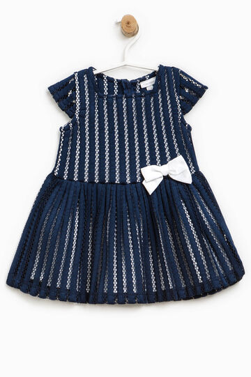 Openwork dress with bow, White/Blue, hi-res
